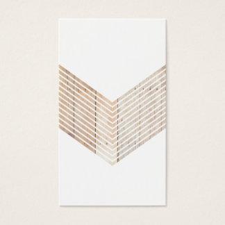 Cartes De Visite Chevron minimaliste blanc avec du bois