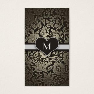 Cartes De Visite Chic élégant de monogramme vintage floral noir
