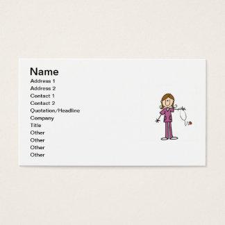 Cartes De Visite Chiffre femelle infirmière de bâton de cheveux de