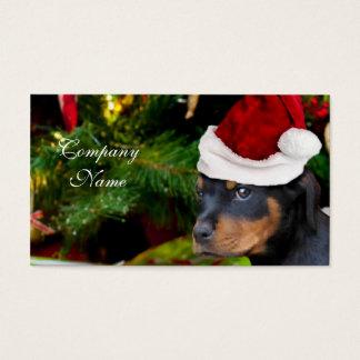 Cartes De Visite Chiot de rottweiler de Noël