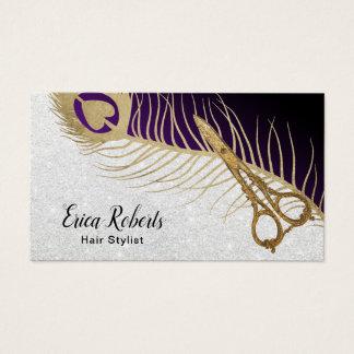 Cartes De Visite Ciseaux d'or de coiffeur et plume modernes de paon