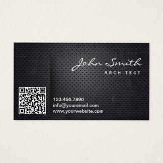 Cartes De Visite Code noir professionnel en métal QR d'architecte