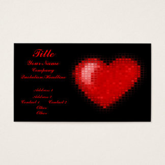 Cartes De Visite Coeur carrelé de mosaïque (rouge lumineux)