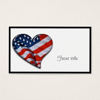 Cartes De Visite Coeur de drapeau américain