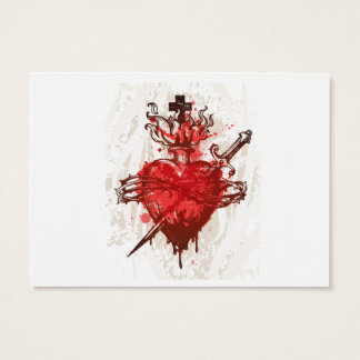 Cartes De Visite coeur en flammes enroulées par le poignard