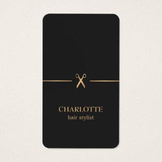 Cartes De Visite Coiffeur chic élégant moderne de noir d'or de Faux