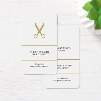 Cartes De Visite Coiffeur d'or blanc élégant moderne de ciseaux