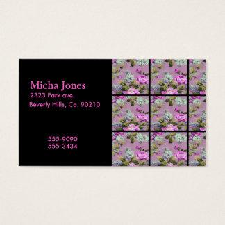 Cartes De Visite Collage rose vintage de roses sur le noir