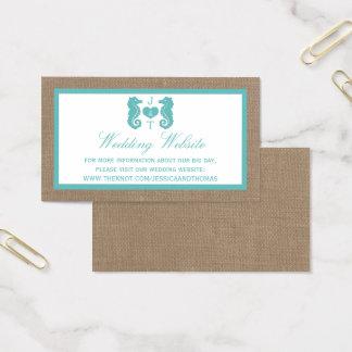 Cartes De Visite Collection de mariage de plage de toile de jute