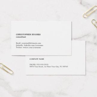 Cartes De Visite Conseiller blanc noir simple minimaliste