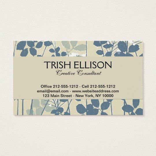 Cartes De Visite Copie bleue florale de fleur d'art asiatique