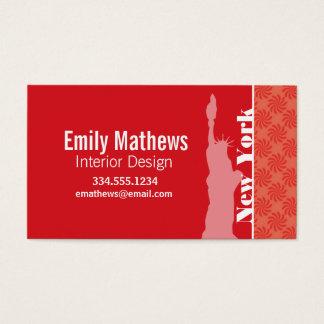 Cartes De Visite Corail et remous rouge ; NYC, statue de la liberté