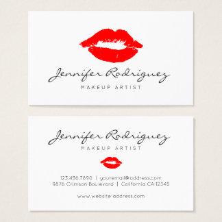 Cartes De Visite Cosmétique rouge de maquilleur de rouge à lèvres