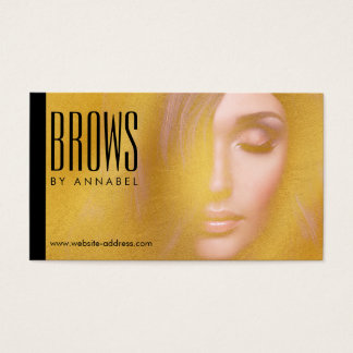 Cartes De Visite Cosmetologist d'or de cils et de fronts de fille