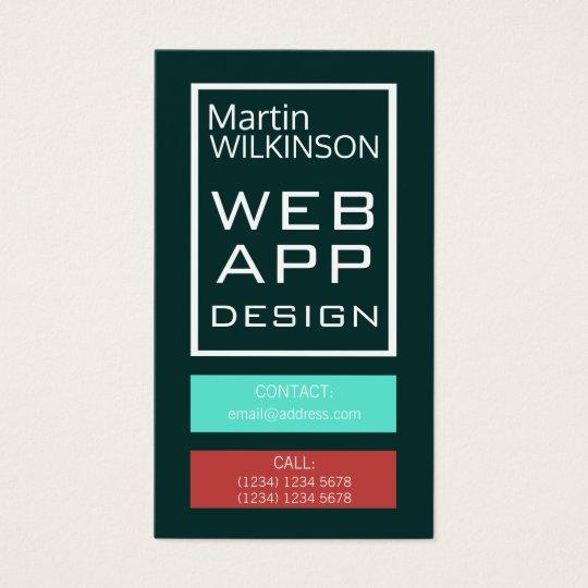 Cartes De Visite Couverture moderne de bouton de cadre