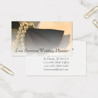 Cartes De Visite Cravate d'arc et wedding planner noirs de perles