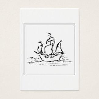 Cartes De Visite Croquis de bateau de pirate. Galleon. noir et