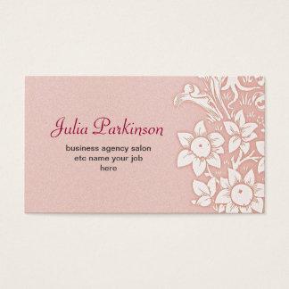 Cartes De Visite Cru floral élégant rose d'auvent minable