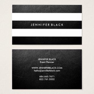 Cartes De Visite Cuir noir et blanc chic moderne de faux élégant