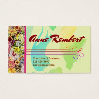 Cartes De Visite Customisez les deux côtés d'aquarelle fleurie