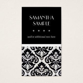 Cartes De Visite Damassé noire et blanche, argent