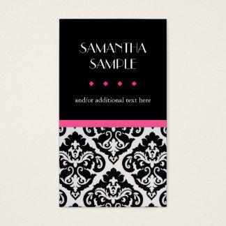Cartes De Visite Damassé noire et blanche, rose indien