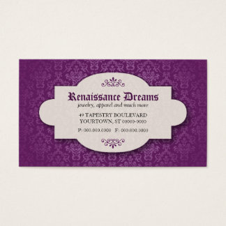 Cartes De Visite Damassé violette somptueuse