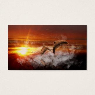 Cartes De Visite Dauphins en nuages au collage de coucher du soleil