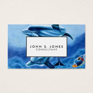 Cartes De Visite Dauphins et art tropical de poissons