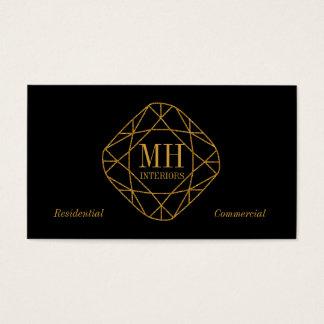 Cartes de visite de diamant d'or de monogramme