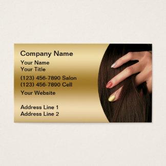 Cartes de visite de salon d'ongle de cheveux