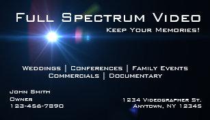 Cartes De Visite Videographer