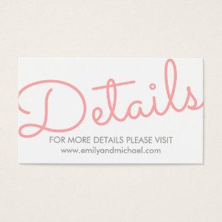 Cartes De Visite Détails modernes roses de mariage de typographie