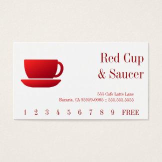 Cartes De Visite Dos rouge de tasse et de soucoupe et de solide