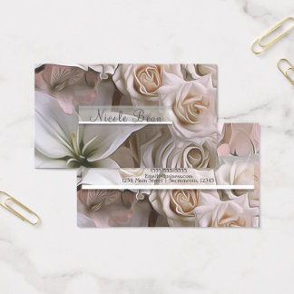 Cartes De Visite Douche nuptiale florale de rose chic minable