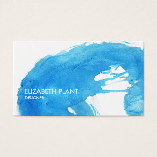 Cartes De Visite Éclaboussure d'aquarelle de bleu d'océan