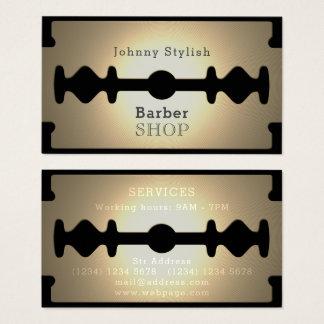 Cartes De Visite Éclat d'or de salon de coiffure de lame de rasoir