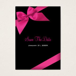 Cartes De Visite Économies roses de mariage de ruban la date