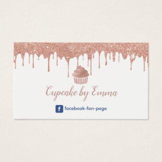 Cartes De Visite Égoutture rose moderne d'or de petit gâteau de