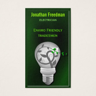 Cartes De Visite Électricien vert-foncé amical d'ampoule d'Eco