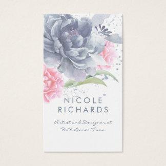 Cartes De Visite Élégant floral poussiéreux d'aquarelle rose bleue