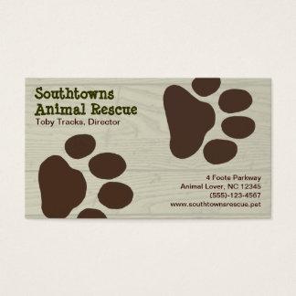 Cartes De Visite Empreintes de pattes de chien sur l'arrière - plan