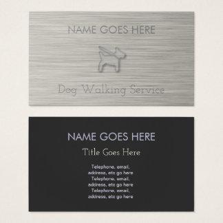 """Cartes de visite """"en acier"""" de marcheur de chien"""