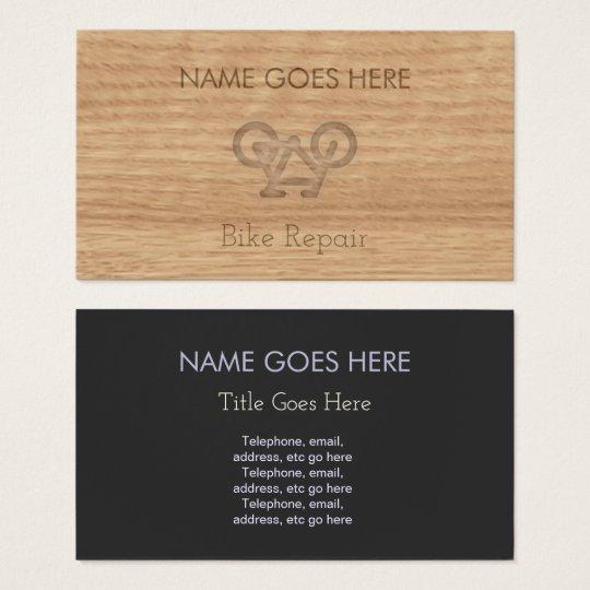 Cartes de visite en bois de réparation de vélo de