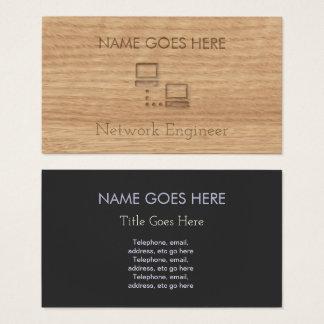 Cartes de visite en bois d'ingénieur de réseau de