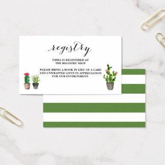Cartes De Visite Enregistrement de baby shower de Succulents