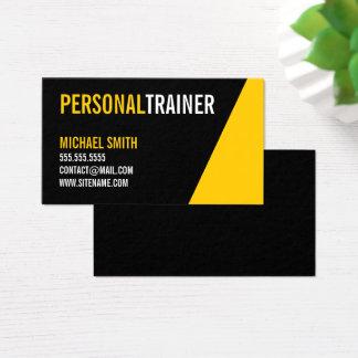 Cartes De Visite Entraîneur personnel audacieux de couleur noire et