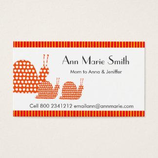 Cartes De Visite Escargots mignons de télécarte de maman