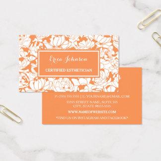 Cartes De Visite Esthetician certifié Girly floral orange moderne