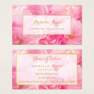 Cartes De Visite Esthéticien certifié floral de belles fleurs roses